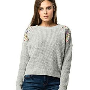 Woven Hearts Embroidered Floral Sweater